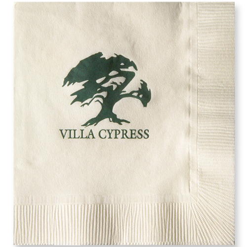 B13MS - Vanilla 3-Ply Beverage Napkins, Coin edge Embossed