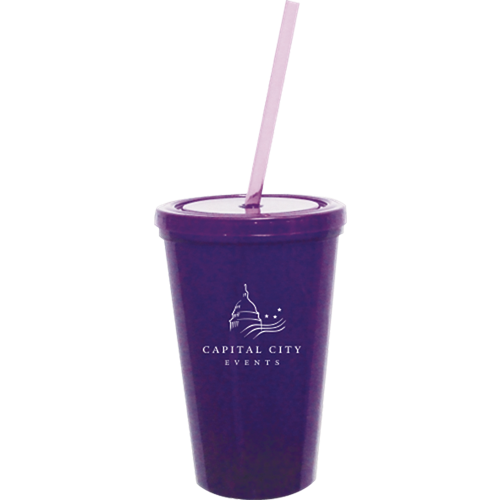 BT16 - 16 oz. Double Wall Tumbler w/Snap on Lid & Straw