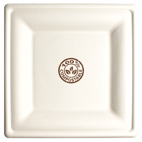 CPCS10 - 10in Square Compostable Paper Plate Bagasse