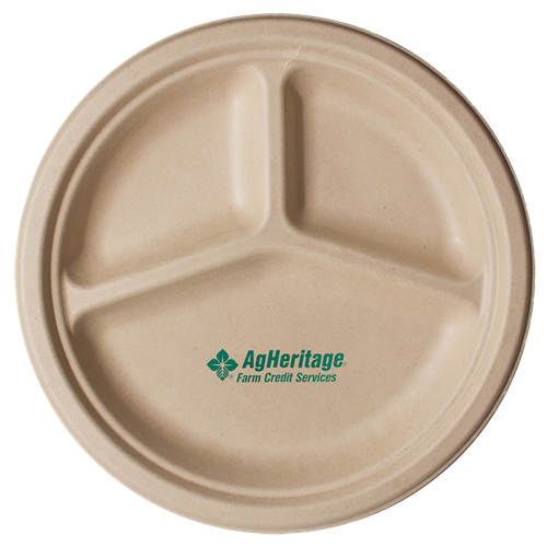 "CPK3C10 - 10"" Kraft 3-Compartment Compostable Paper Plate"