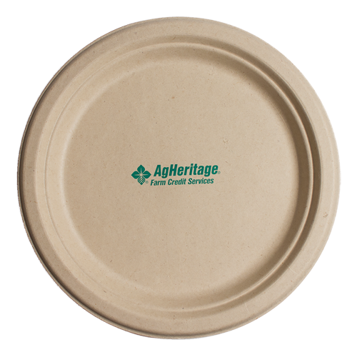 "CPK675 - 6.75"" Kraft Round Compostable Paper Plate"
