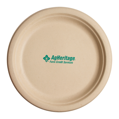 "CPKC10 - 10"" Kraft Round Compostable Paper Plate"