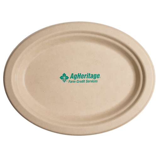"CPKO10 - 10"" Kraft Oval Compostable Paper Plate"