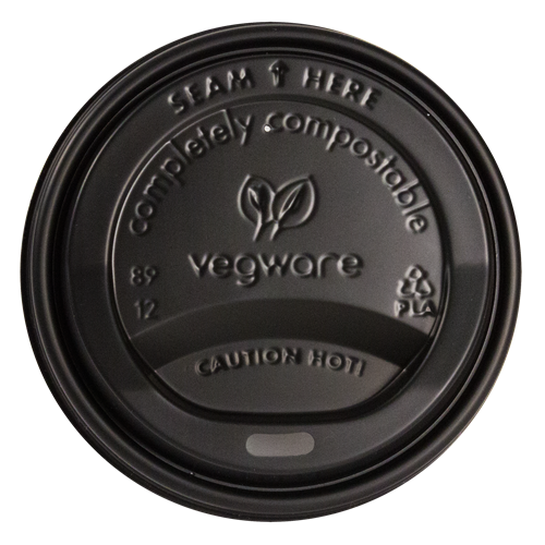 VWLID1020B - Black Dome Compostable Sip Thru Lids