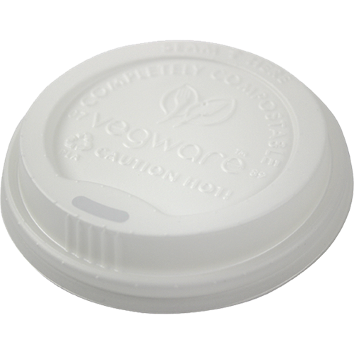 VWLID1020 - White Dome Compostable Sip Thru Lids