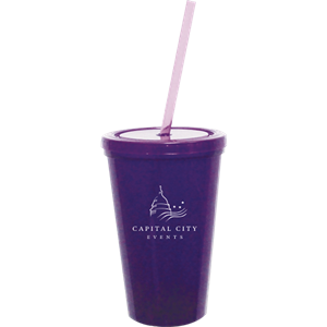 16 oz. Double Wall Tumbler w/Snap on Lid & Straw