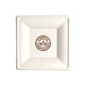 """6"""" Square Compostable Paper Plate Bagasse"""