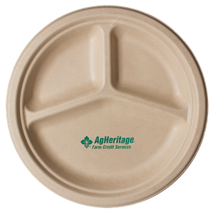 "10"" Kraft 3-Compartment Compostable Paper Plate"