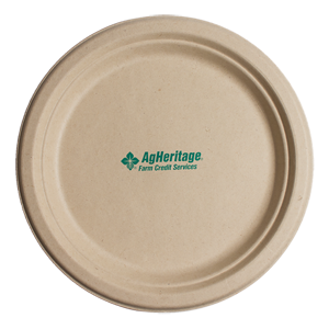 """6.75"""" Kraft Round Compostable Paper Plate"""