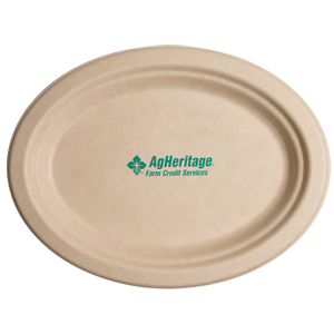 "10"" Kraft Oval Compostable Paper Plate"